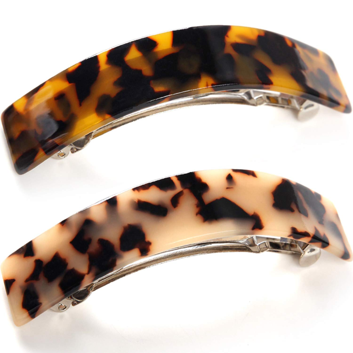 French Style Curved Rectangle Volume Barrette Tortoise Shell Hair Clips Barrettes Automatic Clasp For Thick Hair, 2 Pack : Beauty