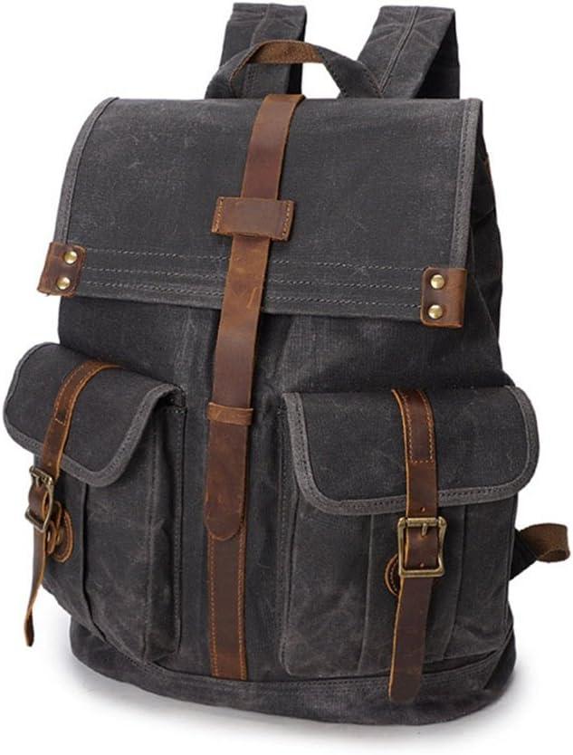 Color : Black Travel Laptop Backpack Mens//Womens Backpack Backpack Vintage Waterproof Zipper Canvas Travel Bag Laptop Student Outdoor Travel Shopping Waterproof Computer Backpack