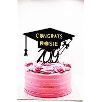 Personalised Graduation 2019 Black Glitter Card Cake Topper, Graduation Cake Decorations