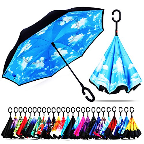 Owen Kyne Windproof Double Layer Folding Inverted Umbrella, Self Stand Upside-down Rain Protection Car Reverse Umbrellas with C-shaped Handle (New Sky (Handle Umbrella)