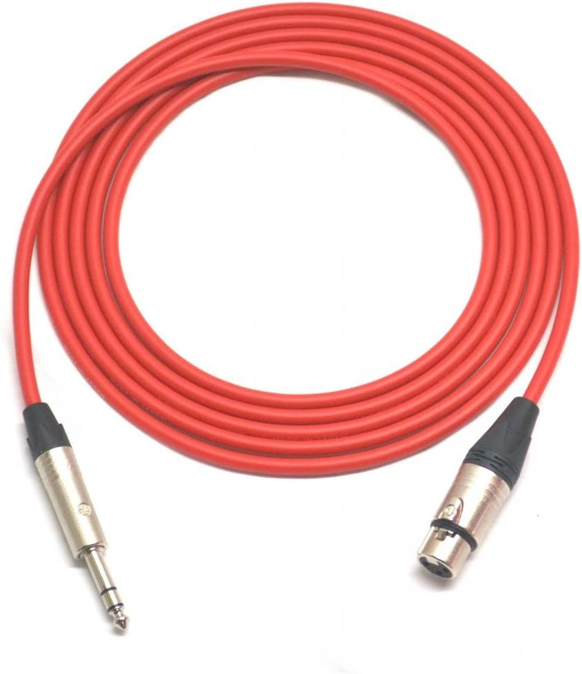 6/' Canare L-4E6S Quad Balanced Cable Neutrik Gold XLR Male to XLR Female Red