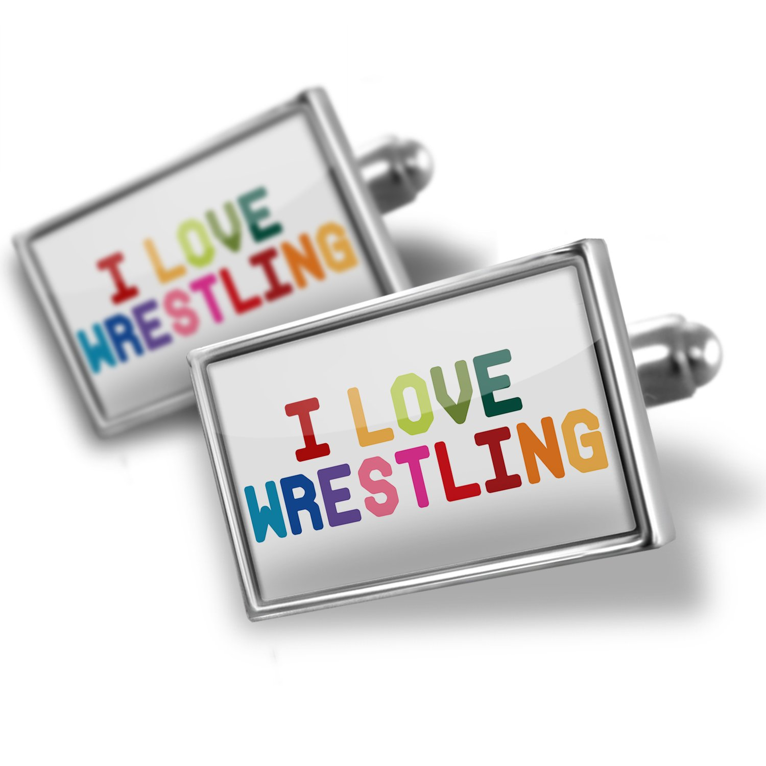 Cufflinks I Love Wrestling,Colorful - Neonblond