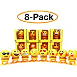 kaparrow (Pack of 8 Emoji)Spring Emoji Shaking Head Dolls Smiley Face Dancing Noddig Toys Theme Party Favors Car Dashboard Table Decoration (Pack of 8 pcs)