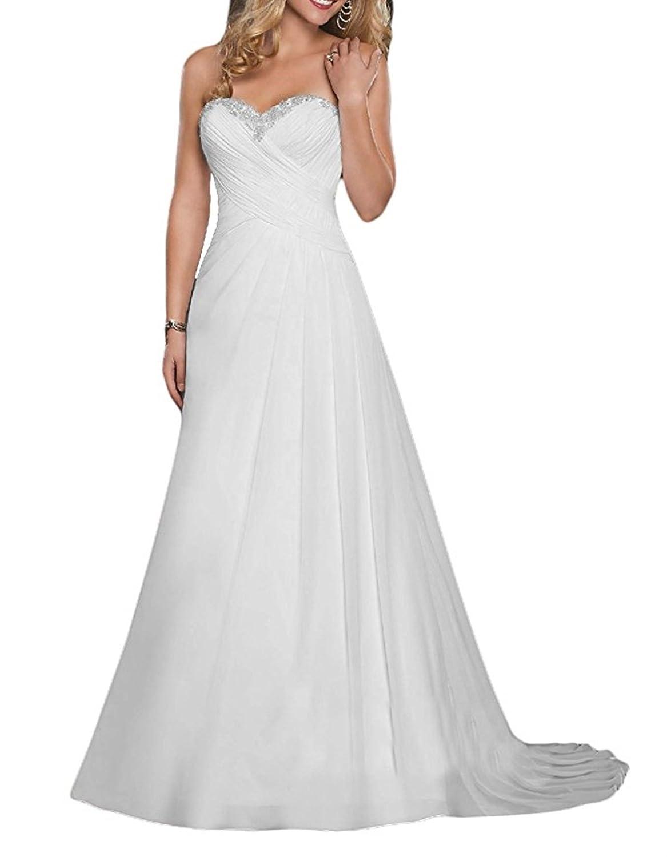 XUYUDITA Gasa vestido de novia de playa de encaje de vestidos de novia de la boda: Amazon.es: Ropa y accesorios