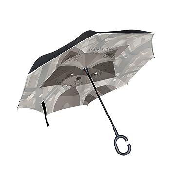 Mnsruu Paraguas invertido de doble capa con patrón de dibujos animados de carraca, paraguas plegable