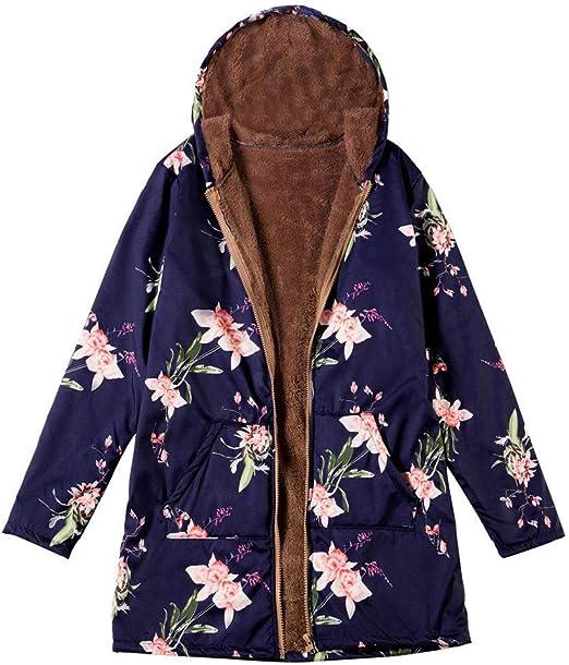 Women Floral Hooded Jacket Coat Ethnic Parka Outwear Fleece Lined Warm Vintage