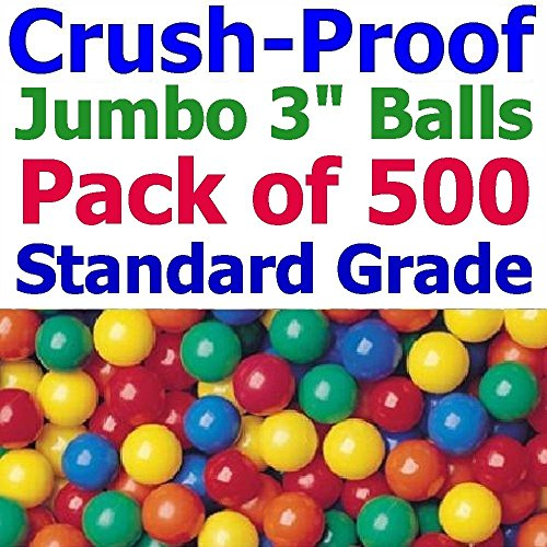 My Balls by CMS Pack of 500 pcs 3'' Crush-Proof non-PVC Phthalate Free BPA Free PE Plastic Ball Pit Balls in 5 Colors - Guaranteed Crush-Proof or Your (for Home Use Only) by My Balls by CMS