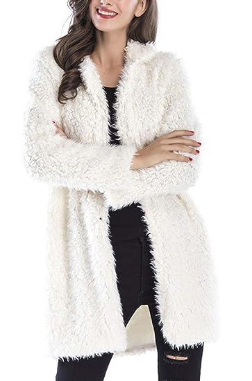 7652bde4c445a Manteau Fausse Fourrure Femme Hiver Mode Classique Veste Revers Chaude  Cardigan Polaire Gilet Manche Longue Blouson