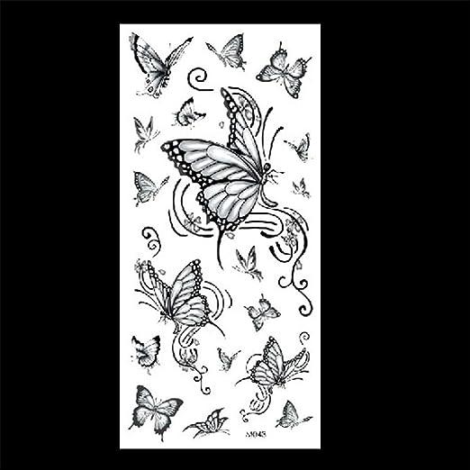 zgmtj Dibujados a Mano Tatuaje Pegatinas Flores Mariposa Tatuaje ...