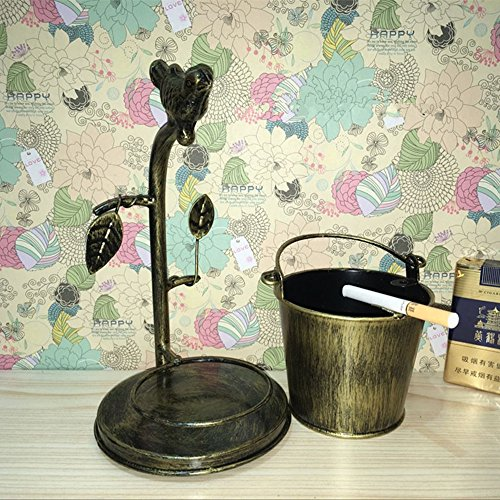 HICBOX Retro large capacity ashtray creative personality iron bird home decoration(Separate iron barrels) (copper)