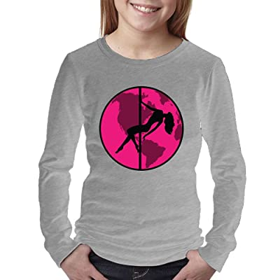 Pole Dance Women's Long Sleeve ShirtTee Round Neck Full 3D Graphic Print T Shirts for Youth Girls Kids Sizes Funy