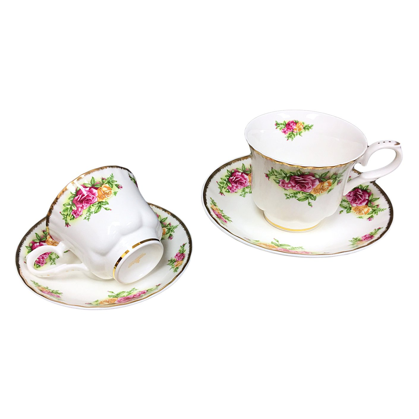 Hampstead Collection Red/Yellow Roses 8-Ounce Porcelain Tea Cups and Saucers, Set of 2 Homestead Heath