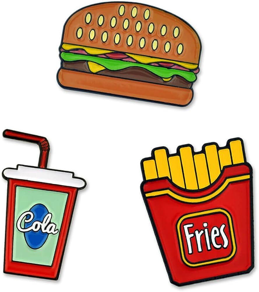 PinMart's Fast Food Burger Fries and Cola Enamel Lapel Pin Set