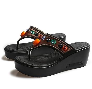 Huaishu Donna Sandali Nuove donne sandali con zeppa estate ciabatte  infradito con zeppa etnica ricamate a 63139b3d77d
