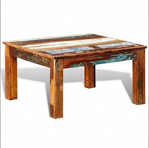 Reclaimed Wooden Coffee Table Antique Style Square Solid Wood Exotic  Furniture Indoor Living Room Multi Colour