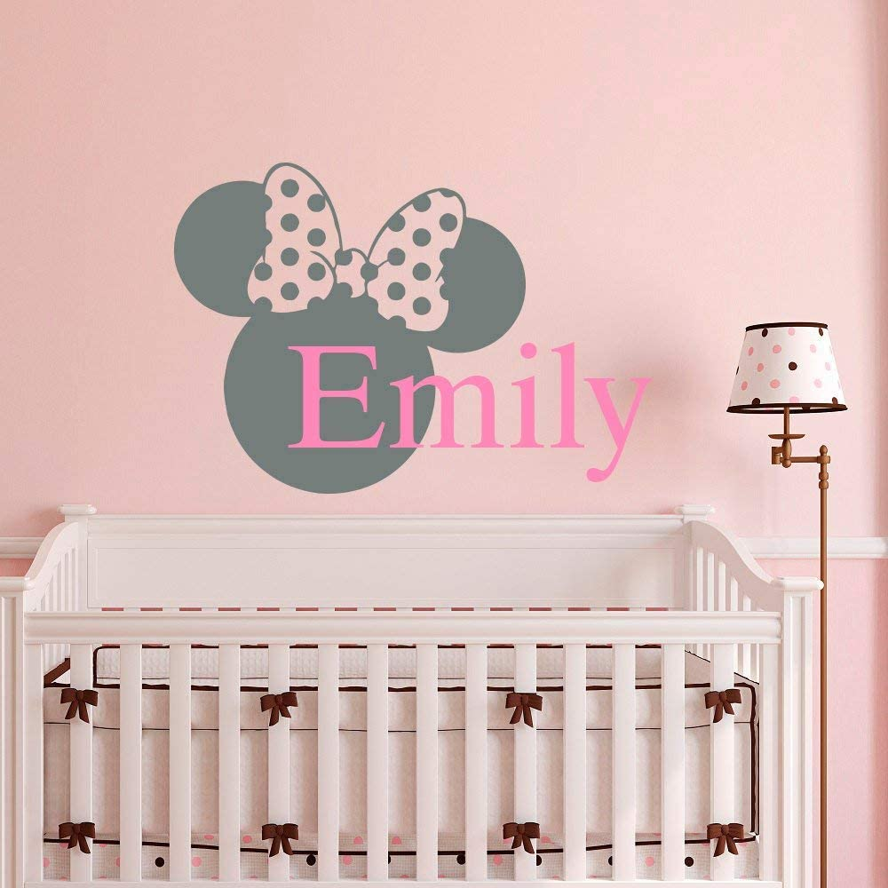 Name Vinyl Wall Decal Decor Minnie Mouse Ears Personalized Custom Baby Girl Name Decals Nursery Bedding Kids Girls Bedroom Vinyl Wall Art Home Decor Made in USA
