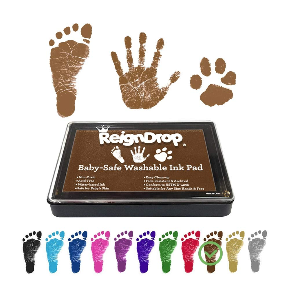 REIGNDROP Ink Pad For Baby Footprint, Handprint, Create Impressive Keepsake Stamp, Non-Toxic and Acid-Free Ink, Easy To Wipe and Wash Off Skin, Smudge Proof, Long Lasting Keepsakes (Brown)