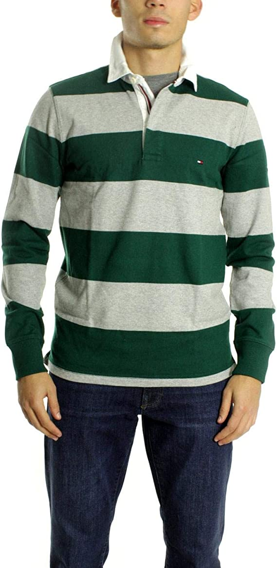 Tommy Hilfiger Polo Rugby Rayas Verde Gris XL: Amazon.es: Ropa y ...