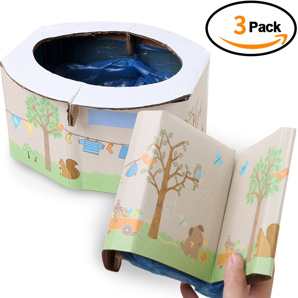TINTON LIFE 3pcs Portable Paper Toddler Potty Emergencies Kids Disposable Toilet for Travel Car Camping