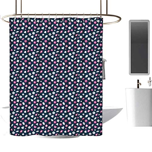 (MKOK Pattern Shower curtain36 x72 Diamonds,Round Marquise Square and Heart Shaped Crystals with Ruby Arrangement,Dark Blue Pink Pearl,Waterproof Washable Antibacterial Bathroom Curtain)