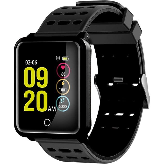 Ksix Fitness Band Cube HR, Pulsera de Actividad Deportiva Con Monitor Cardíaco, Pantalla TFT Color, Sumergible, Monitorización del Sueño, Negro