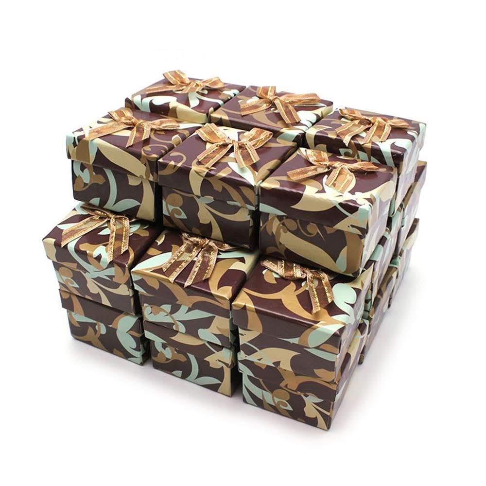 RUBY- 24 Cajas de Regalo Joyerí a 5cm x 5cm Estampado Marron/Beige con Lazo, para presentació n de Joyas, Enví o urgente Gratis para presentación de Joyas Envío urgente Gratis Ruby Abalorios CR4546MR