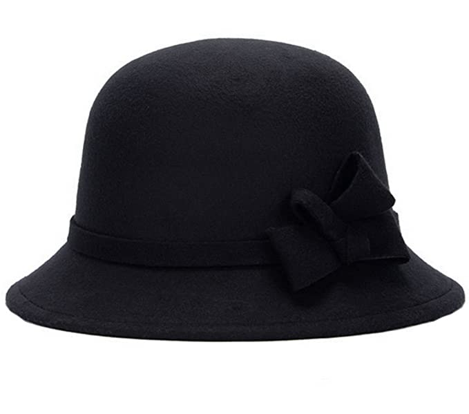 09f79389a5e Women s Warm Wool Felt Church Cloche Cap Bucket Hat Classic Bowler Hats Bow  Trim Black