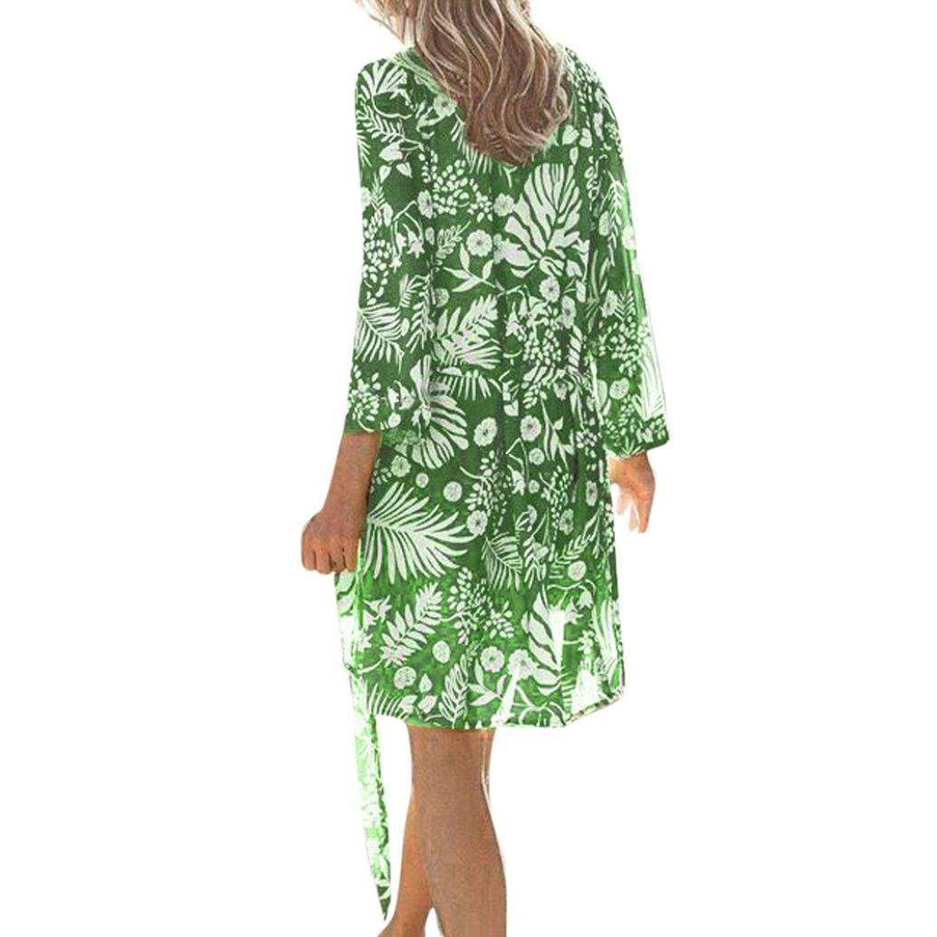 Kimono Cardigan Womens Leaf Print Cover Blouse Swimsuit Smock Tops (XL, Green)