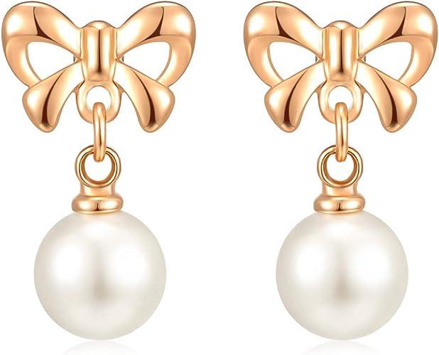 Elegant Non-piercing Clip Round Shape Pearl Hoop Earrings Drop Dangle Ear Stud