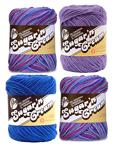 Bulk Buy: Lily Sugar 'n Cream Limited Edition 100% Cotton Yarn (Coordinated 4-Pack) (Jewels, Dazzle Blue, Hot Purple)