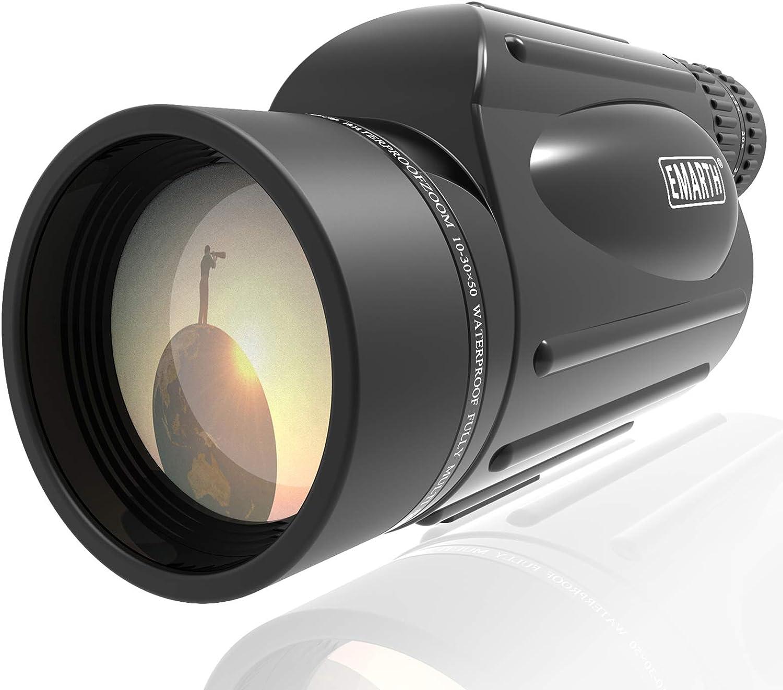 Emarth High Power 10-30X50 Zoom Monocular Telescope BAK4 Prism Waterproof Fog Proof Men Gifts for Bird Watching Camping Hunting Wildlife Traveling : Camera & Photo