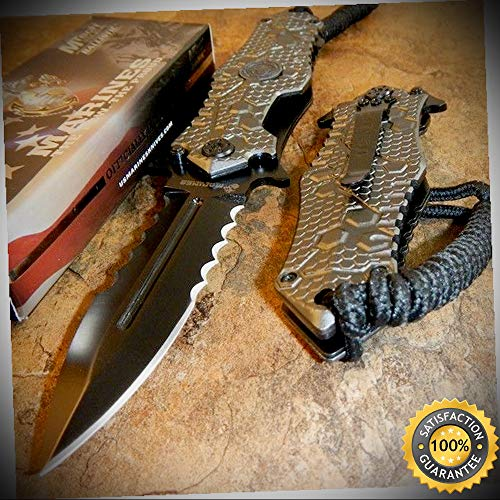 USMC MARINES Spring Assisted Open OFFICIALLY LICENSED Pocket Knife - outdoor for camping hunting ()