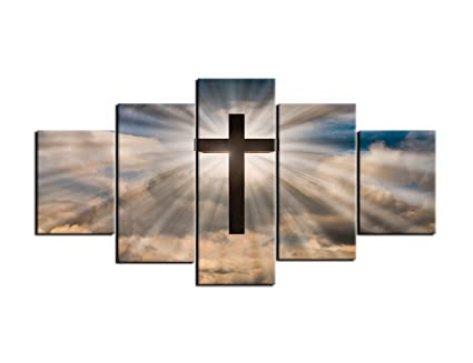 AMEMNY Jesus Christ Cross Wall Art Canvas Painting Print Poster 5 Panel On A Dramatic Sky
