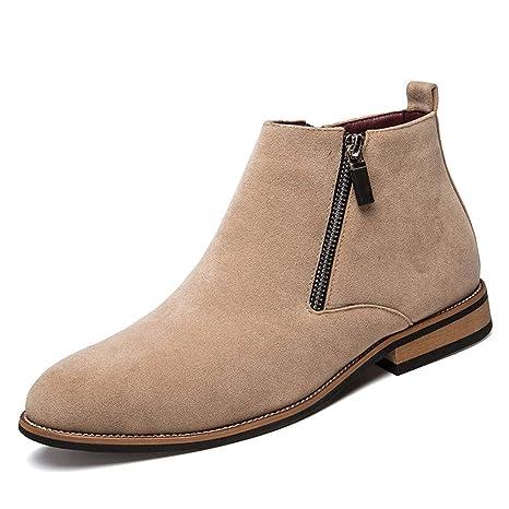 Xiazhi-shoes , Botines Planos para Hombre Talón con Cremallera Lateral Decoración Gamuza Vamp Color