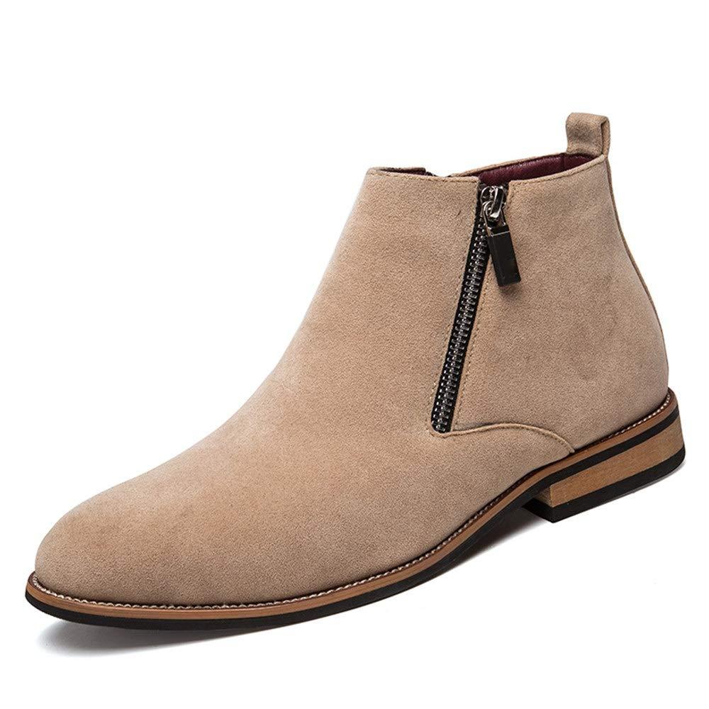 Hilotu Clearance Men's Fashion Ankle Boots Flat Heel Side Zipper Decoration Suede Vamp Solid Color Shoes (Color : Gray, Size : 9.5 D(M) US)