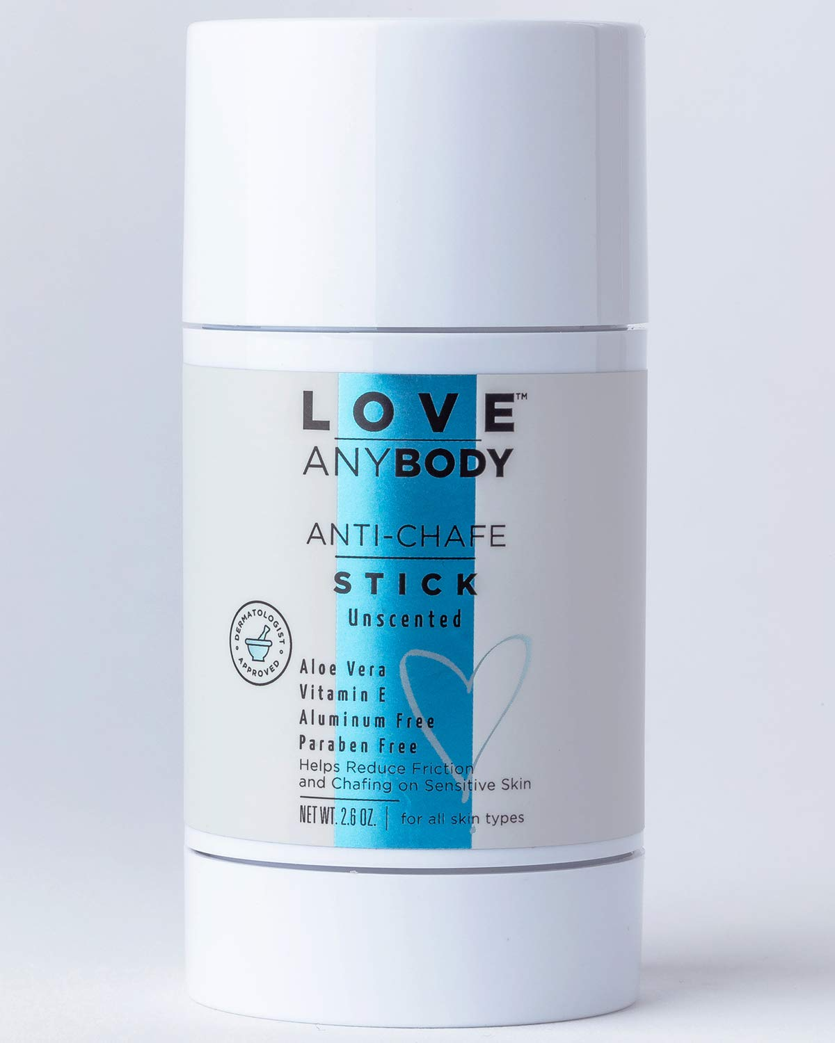 Love AnyBody Anti-Chafe Stick | Dermatologist Approved | Natural Unscented | Aluminum Free, Paraben Free, Phthalate Free, Cruelty Free | Skin Protectant Combats Friction for Inner Thighs | Aloe Vera,