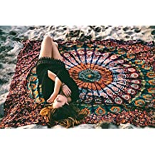 TWIN HIPPIE INDIAN TAPESTRY ELEPHANT MANDALA Orange THROW WALL HANGING GYPSY BEDSPREAD Tapestries,bed sheets ,bed spread,hippy bed sheets,wall hangings,ethnic decor,home decor bed sheets,throw,picknic blankets,dorm tapestries By Montreal Tappesier