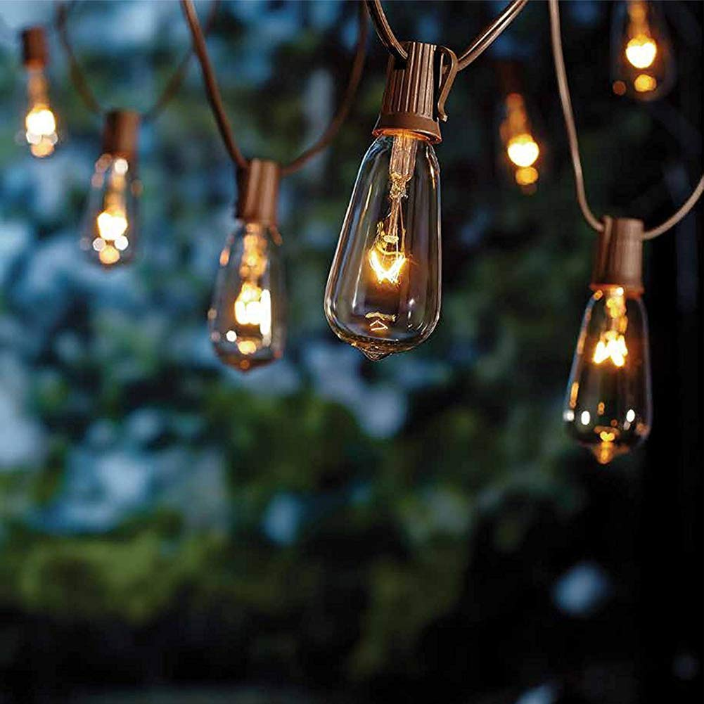 20Ft Edison String Lights with 21 Clear Edison Bulbs, UL Listed 7W E17 Base Vintage Edison Light String for Patio, Porches, Bistro, Backyard - Brown Wire