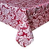 Eforcurtain Shabby Chic Leaves Jacquard Table Cover Durable Polyester Rectangular Tablecloth Damask, 60 By 120-inch, Burgundy