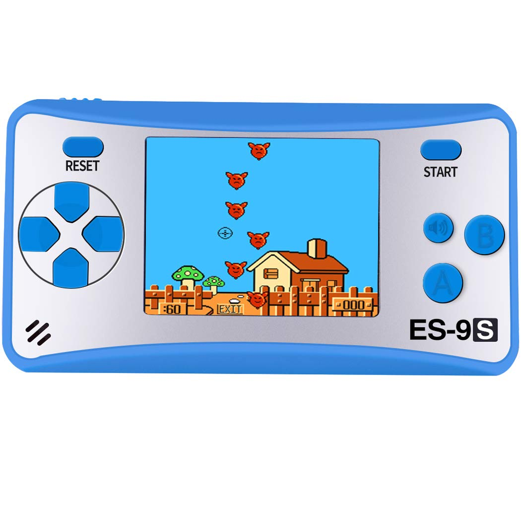 Handheld Games Console for Kids with Built in 168 Classic Video Games Device Mini Arcade Gaming Machines Portable Electronic Consoles 16 Bit 2.5'' Screen (Blue)