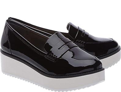 9b4b54bdf SCHUTZ Women's Bevida Black Box Leather Flatform Platform Penny Loafer  Oxford ...