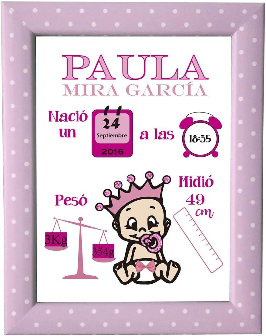 Kembilove Lámina Natalicia Personalizada – Lienzos Decorativos Personalizados Nacimiento Bebe – Incluye Lámina y Marco – El Regalo Perfecto para un Recién Nacido, Niño o Niña bebé rosa