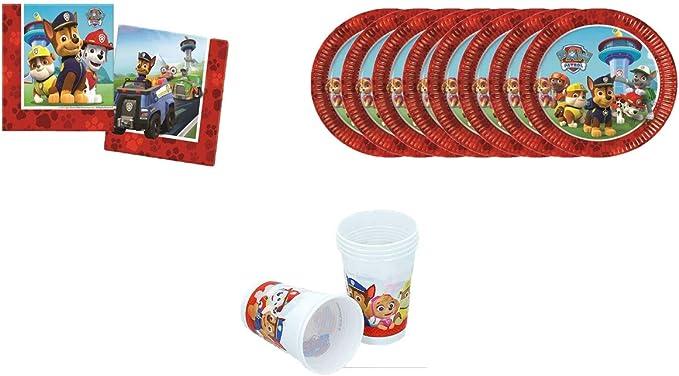 PAW PATROL ALMACENESDAN, 0499, Pack Desechables Fiestas y cumpleaños Patrulla Canina, 8 Platos, 8 Vasos 200 ml, Pack 20 servilletas: Amazon.es: Juguetes y juegos