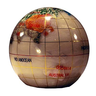 Unique Art 3-Inch Pearl Swirl Ocean Gemstone World Globe Paper Weight: Home & Kitchen