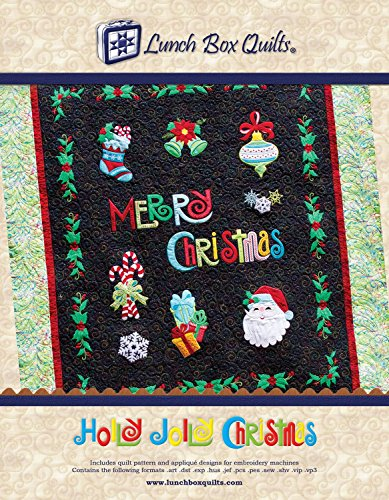 Holly Jolly Christmas Applique Machine Embroidery Design with Digital Download Redemption Code and Backup CD by Lunch Box Quilts (Machine Designs Embroidery Quilt)