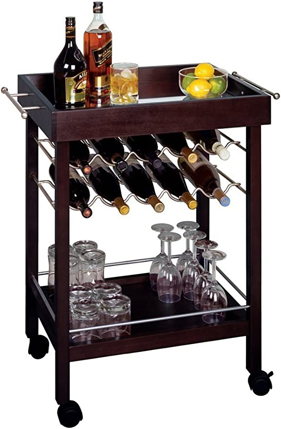 Amazon Com Bar Cart Mirror Top Wine Rack Furniture