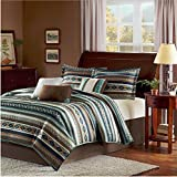 7 Piece Multi Geometric Lodge Striped Theme Comforter Queen Set, Adorable Native American Design, Stripes Indie Print, Southwest Country Style, Reversible Bedding, Western Colors Turquoise Blue Brown