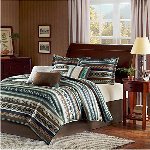 7 Piece Multi Geometric Lodge Striped Theme Comforter Queen Set, Adorable Native American Design, Stripes Indie Print, Southwest Country Style, Reversible Bedding, Western Colors Turquoise Blue Brown by OS