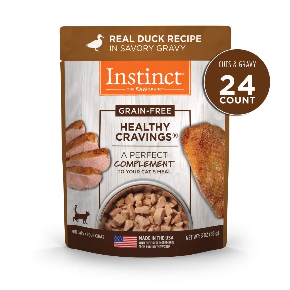 Instinct Healthy Cravings Grain Free Real Duck Recipe Natural Wet Cat Food Topper by Nature's Variety, 3 oz. Pouches (Case of 24) by Instinct