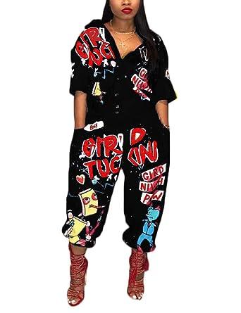d8fab9df31f5 Amazon.com  Angsuttc Women Camouflage Print Long Sleeve Zipper Turn Down  Collar Wide Leg Jumpsuit  Clothing